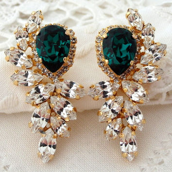 Emerald green and clear diamond Statement stud earrings, Extra large stud earrings, Swarovski crystal earring, Bridal earrings, High fashion