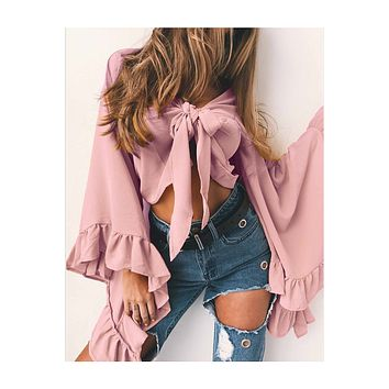 Pure Color Long Trumpet Sleeves Irregular Short Blouse