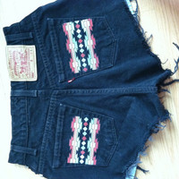Tribal High Waisted Levis Shorts