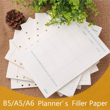 A5 A6 Spiral Notebook Filler Paper For Filofax Diario Planner Inner Pages Of Replacement Office Accessories Binder Book Paper