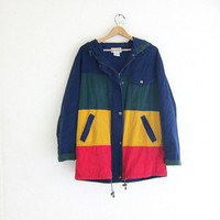 vintage oversized colorblock jacket // blue, yellow and green cotton coat / women's size M