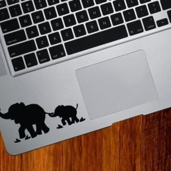 Elephant Mom and Baby - DESIGN 1 - Trackpad / Keyboard - Vinyl Decal (Black)