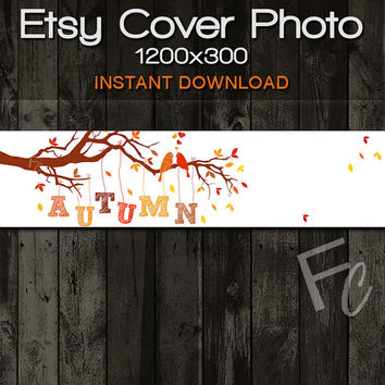 INSTANT DOWNLOAD, Etsy Shop Cover Photo 1200x300, Premade Love Birds in Tree Autumn Design, Digital Files, Website Header
