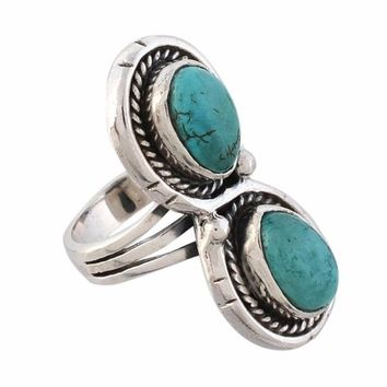 Arvino Infinity 925 Sterling Silver Ring With Turquoise Gemstone