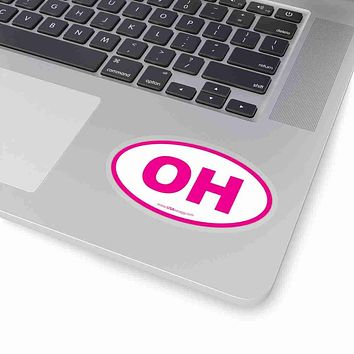 Ohio OH Euro Oval Sticker PINK