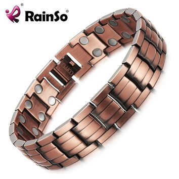 RainSo Red Copper Magnetic Bracelet for Men Women 2 Row Magnet Healthy Bio Energy Bracelets & Bangles 2018 Father's Day Gift
