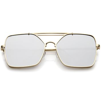 Oversize Reinforced Metal Mirrored Flat Lens Aviator Sunglasses C200