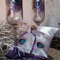 Hand painted Satin white ring bearer pillow Silver and purple peacock feathers personalized wedding favor