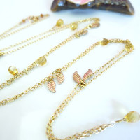 Citrine gold leaf long opera length necklace, citrine gemstone jewelry, gold bohemian necklace