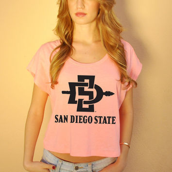 San Diego. San Diego Top. San Diego State. SDSU. SDSU Aztecs. Sorority Top. Gym Top. Crop Top. Rhinestone. Neon Top. Neon Screenprint.