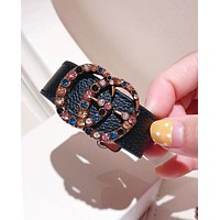 """Hot Sale """"GUCCI"""" Popular Women Colorful Water Drill Double G Leather Stainless Steel Hand Catenary Bracelet Black I-KMG-NPSL"""