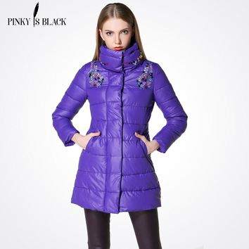 Pinky Is Black winter jacket women Crystal medium-long coat parka female diamond outerwear women cotton-padde winter coat women
