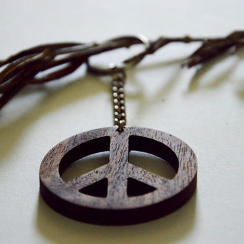 PEACE Wooden keychain WALNUT!