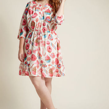 Chiffon Shirt Dress with Ruffle Hem in Sweets