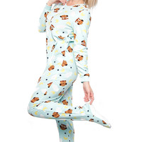 Fun, Fleece, Footsy Pajama with Owl Print for Adults