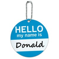 Donald Hello My Name Is Round ID Card Luggage Tag