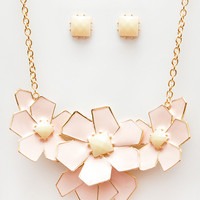 Flower Power Necklace Set - Pink - One
