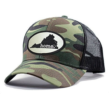 Homeland Tees Men's Virginia Home State Army Camo Trucker Hat - Black