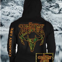 Country Life Outfitters Black & Orange Camo Realtree Deer Skull Head Hunt Vintage Unisex Hoodie