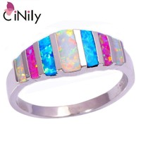 Pink Blue White Fire Opal 925 Silver Stamp Women Jewelry Ring Size 5-13