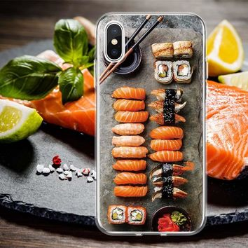 Delicious Food Sushi Salmon Crab Vegetables Soft Clear TPU Cell Phone Cover Case For iphone X 6 6Plus 6S 6sPlus 7 7Plus 8 8Plus