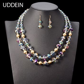 UDDEIN African beads jewelry set Layer Crystal Necklace & Pendant Vintage Statement Chokers Nigerian Wedding Indian Jewelry Sets