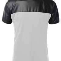 Mens Premium Edgy Faux Leather Slub Raglan Short Sleeve T Shirt