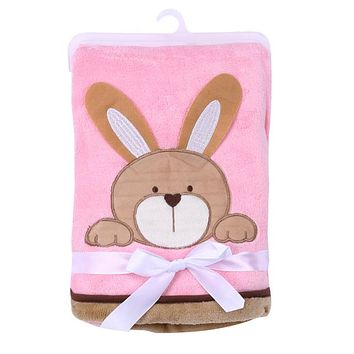 Baby Blankets - Free Shipping - Super Soft Polyester Baby Blanket - Pink Bunny