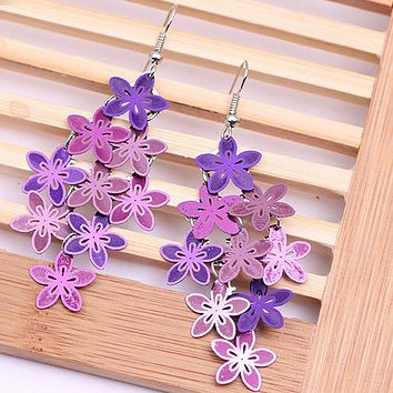 Pameng New Fashion Violet Blue color Bohemian Jewelry Drop Flower Earrings for Women Dragonfly Owl Jewelry gifts 0386