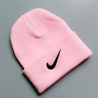 NIKE Autumn Winter Trending Women Men Embroidery Knit Hat Warm Hip Hop Cap Pink