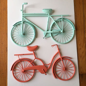 Large metal Bicycle wall hanging, set of 2, decoritive, mint and coral, distressed