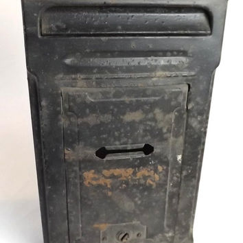 Vintage Mailbox Wall Mount, Rustic Black Metal Letter Box, PNC Fulton Illinois, Porch Slot Mail Box, Industrial Home Decor