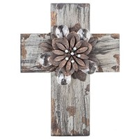 Gray Cross with Rustic Flower Center | Shop Hobby Lobby