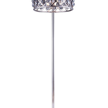 "Madison Floor Lamp D:20"" H:72"" Lt:4 Polished nickel Finish (Royal Cut Silver Shade Crystals)"