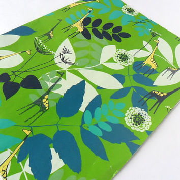 Vintage Giraffes Gift Wrap Paper 1 Sheet Mod Blue Green Leaves Flowers 1970s African Animal Birthday Anniversary Holiday Safari Jungle Party