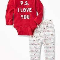 Graphic Bodysuit & Printed Pants Set for Baby|old-navy