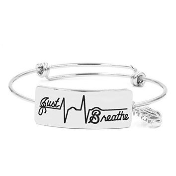Yiyang Yoga Bracelets for Women Inspirational Friendship Bangle for Teen Girl Just Breathe