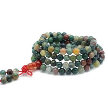 LMF9GW Fashion Jewelry Natural 6mm Stone Buddhist India Agate 108 Prayer Beads Mala Bracelet