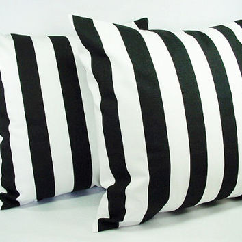 Two Black and White 20 x 20 Inch Striped Decorative Throw Pillow Covers - Cushion Cover Accent Pillow