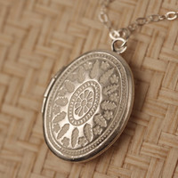 LONG Small White Ornate Locket Necklace, Sterling Silver, Oval Pendant, Delicate, Simple and Long Fashion