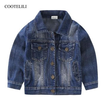 Trendy COOTELILI 80-130cm 2018 Spring Boys Jeans Jacket Dark Blue Children Windbreaker girls Jacket Kids Outerwear Children Clothing AT_94_13