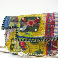Upcycled Bag Yellow Cross the Body Whimsical Bright Colors