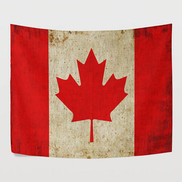 Vintage Maple Leaf Flag Tapestry Wall Hanging Red Flag of Canada Wall Decor Art for Bedroom Livingroom Dorm