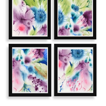 Print Set of 4,3,2 or 1 Abstract Watercolor, Pink Wall Art Watercolor Painting Print, Pink Painting, Pink Flower Print,11x14 13x19 8x10 5x7