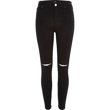 River Island Womens Black ripped knee Lana superskinny jeans