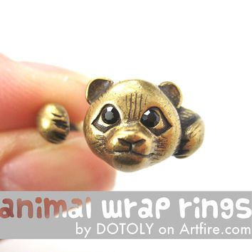 Small Panda Bear Animal Wrap Hug Ring in Brass - Size 4 to 8.5 Available