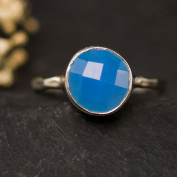 Deep Blue Chalcedony Ring - Gemstone Ring - Sterling Silver Ring - Bezel Set Ring - Mother's Day Gift