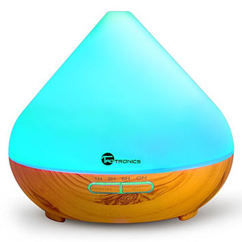 TaoTronics Essential Oil Diffuser, 300ml Wood Grain Aroma Diffuser with Cool Mist and 7 Colors ( Aromatherapy Diffuser + Ultrasonic Aroma Humidifier, Mist and Light Control, Timer + Auto Shut-off )