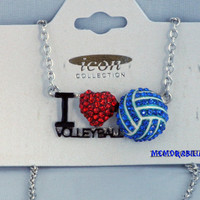 Trendy I Love Volleyball Sports Cubic Pendant Necklace