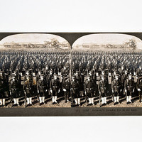 Keystone Stereoview WWI Japanese Soldiers in Attention